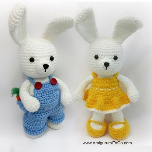 Dress me bunny boy and girl amigurumi pattern