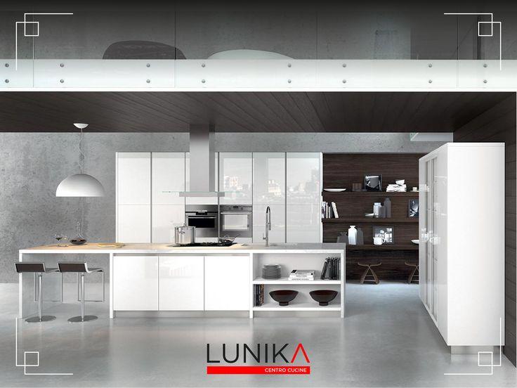 Cucina modello Glass in vetro bianco lucido
