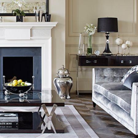 Gray velour sofa, coffee table, console bar table. Glam.