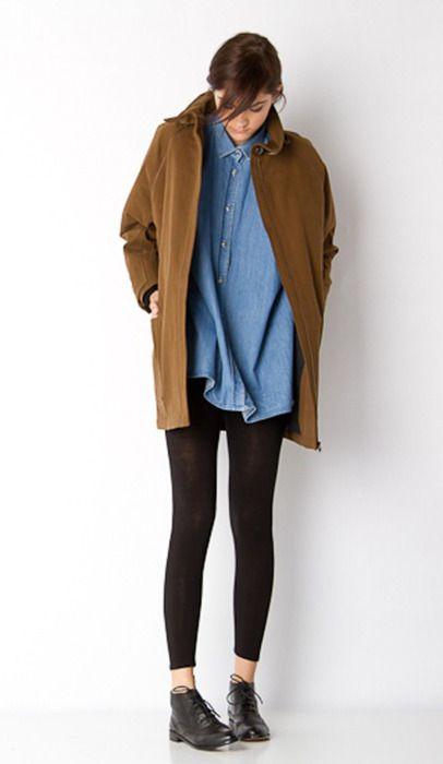 Dip dye denim shirt Black leggings/ jeans Black boots Camel coat