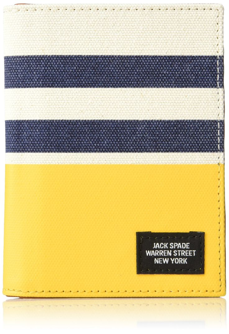 Jack Spade Men's Striped Dipped Passport Wallet, Natural/Yellow/Navy, One Size