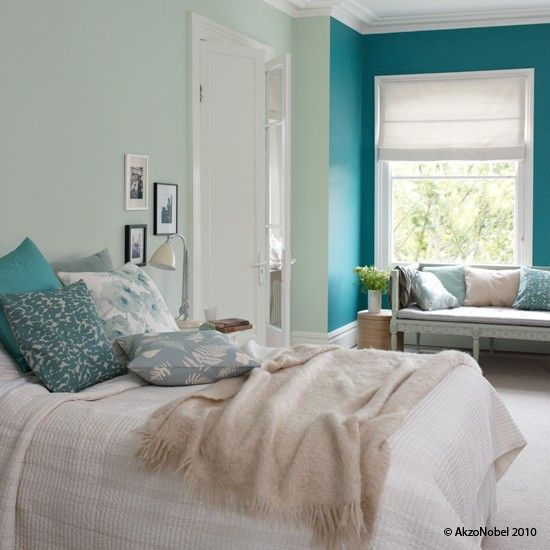 Love the accented wall- a fun way to brighten up neutrals