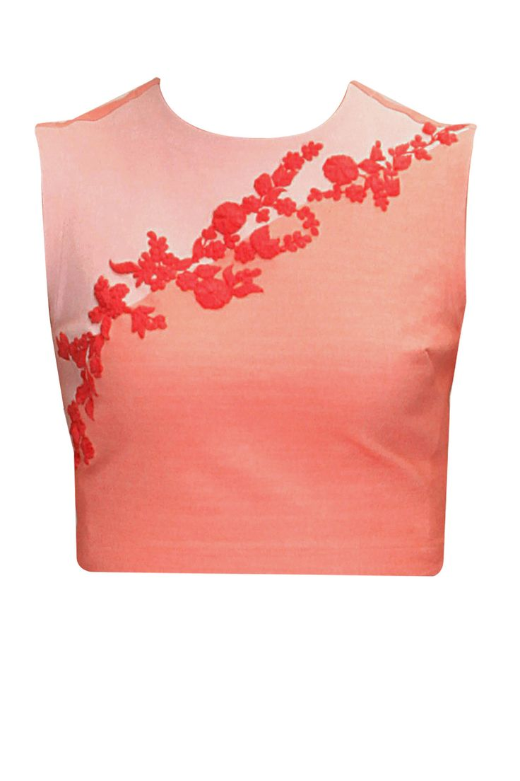 Peach and pink floral detail crop top available only at Pernia's Pop-Up Shop.