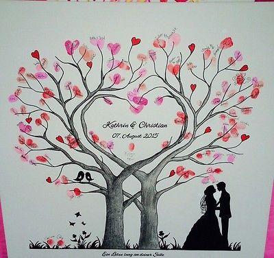 Wedding Tree Herz Fingerabdruck Baum Hochzeit Geschenk Leinwand 50×50/60x60cm