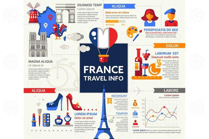 France Travel Info - Poster, Brochure Cover EPS