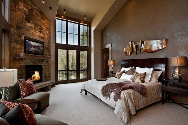 Love this master with the fireplace! --50 Master Bedroom Ideas That Go Beyond The Basics