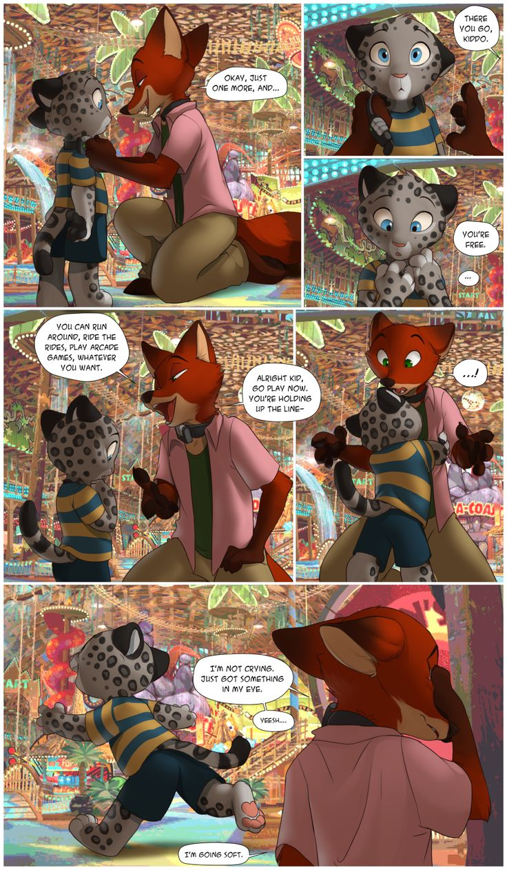 A Zoodystopia comic… Nick taking off some kid's tame collar at Wild Times :')background source [x]