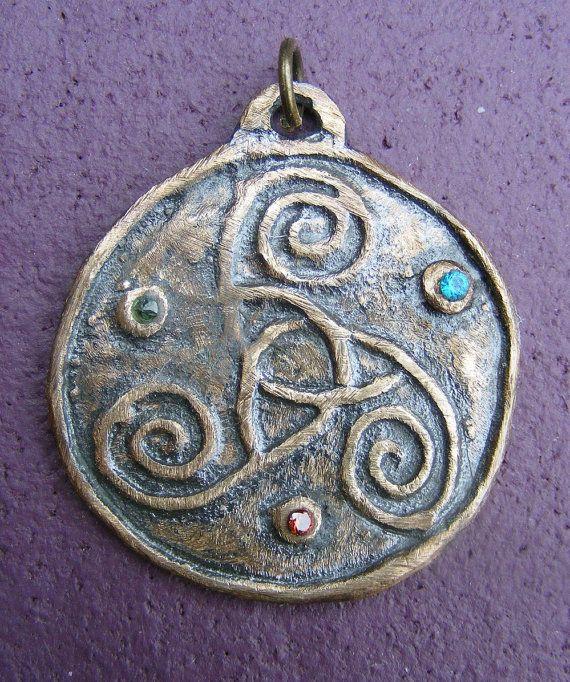 Celtic Triple Spiral Triskele Triskelion by GreenManJewellery, £18.00