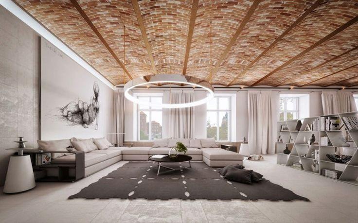 Modernes Wohnzimmer in Erdnuancen mit Ziegeldecke | Gathering Room ...