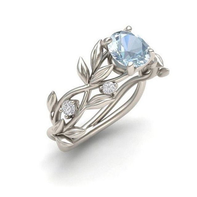 Wedding Crystal Silver Color Rings Vine Leaf Design Engagement