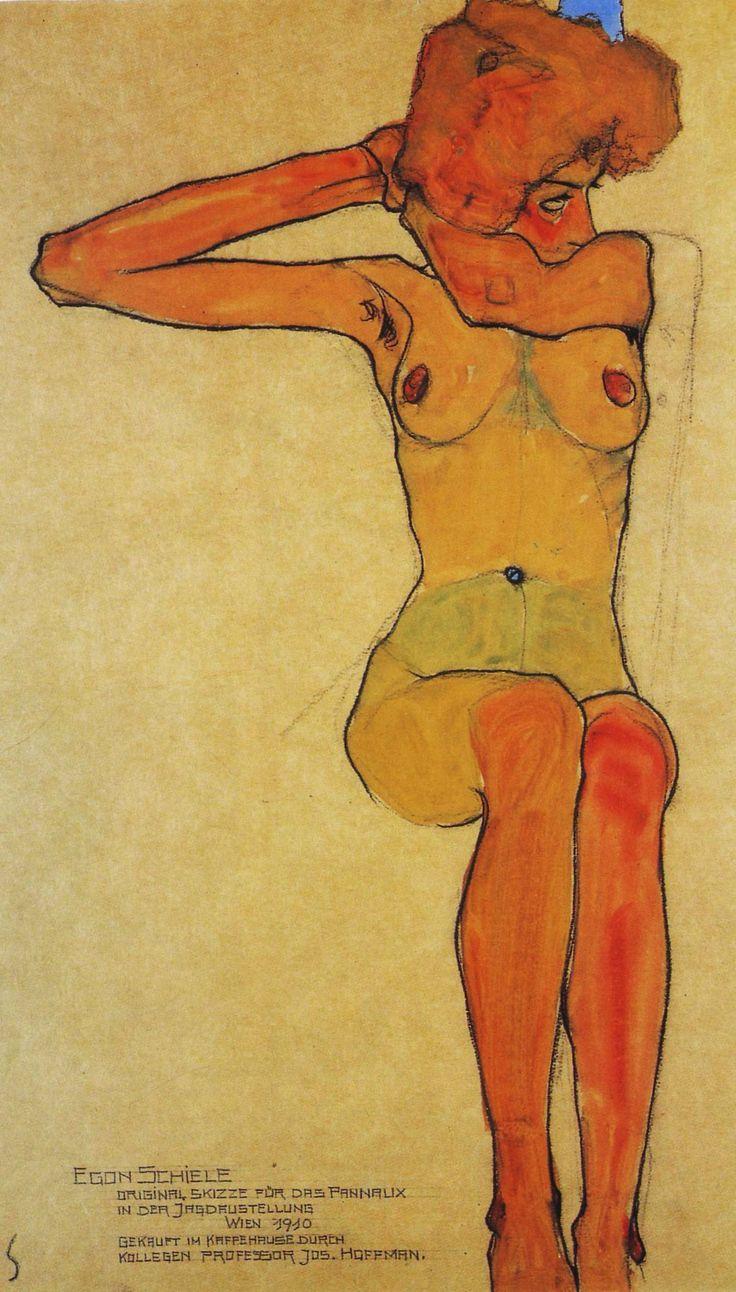 Egon Schiele, Nude Woman Hair-Dressing, 1910