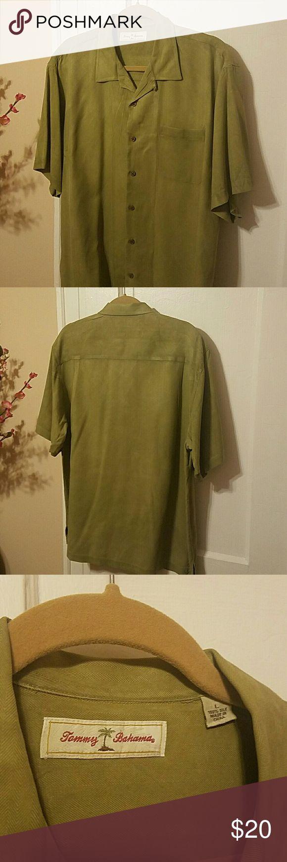 TOMMY BAHAMA Silk Shirt Short sleeve button down shirt 100% Silk in khaki green. Tommy Bahama Shirts Casual Button Down Shirts