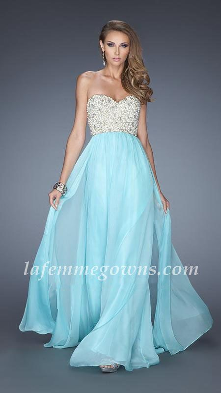La Femme 20061 Beaded Chiffon Light Mint Prom Gown With Pearl