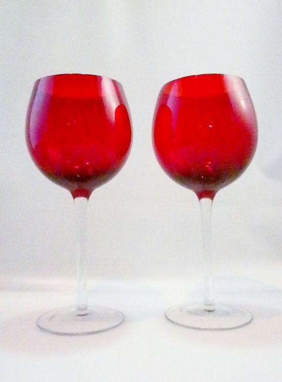 Vintage Pair Red Wine Glasses Long Stem Wine Glasses by oldandnew8