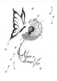 dandelion butterfly tattoo designs - Google Search                                                                                                                                                                                 More