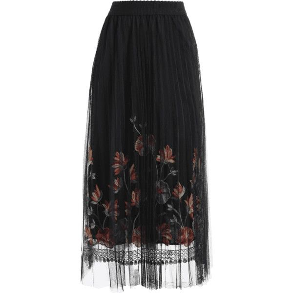 Floral Mesh Panel Skirt Black ($19) ❤ liked on Polyvore featuring skirts, bottoms, zaful, floral knee length skirt, floral print skirt, floral printed skirt, floral skirts and flower print skirt