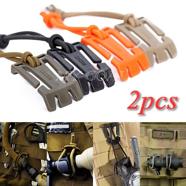2Pc Military MOLLE Webbing Elastic Cord Cable Storage Hang Buckle Roll Wire Clip