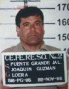 "Joaquin ""El Chapo"" Guzman Loera. DOB: 195744.  Head of Mexican Sinaloa Drug Cartel.  Current location unknown."