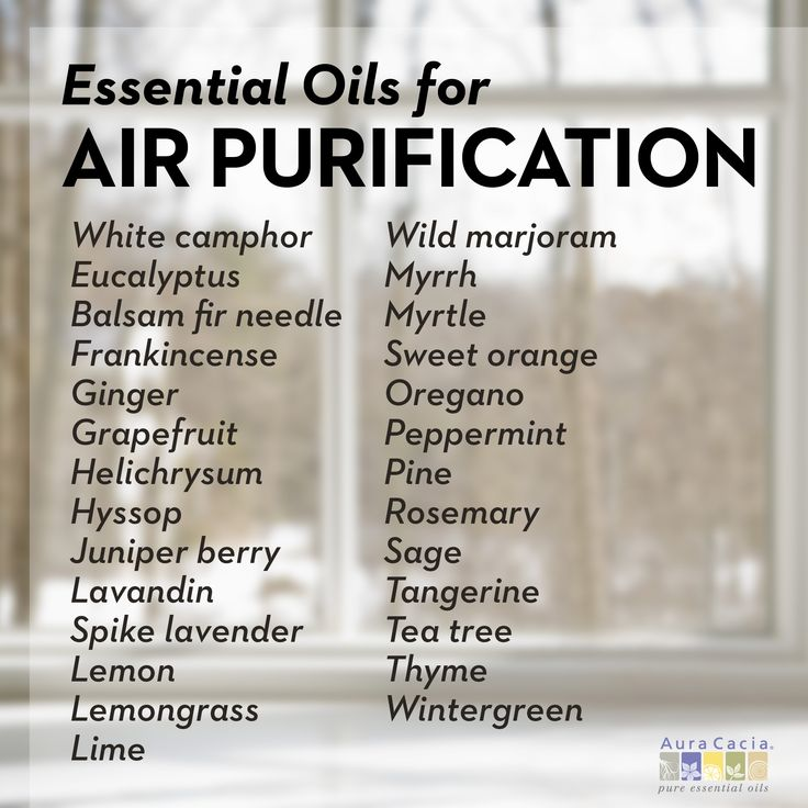 Air purifying essential oils and blend recipes: Purifying Eucalyptus Diffusion Ingredients: 2 drops eucalyptus 2 drops frankincense 2 drops lemon