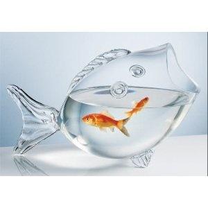 Glass fish shaped bowl or candy dish fishbowl nautical coastal decor
