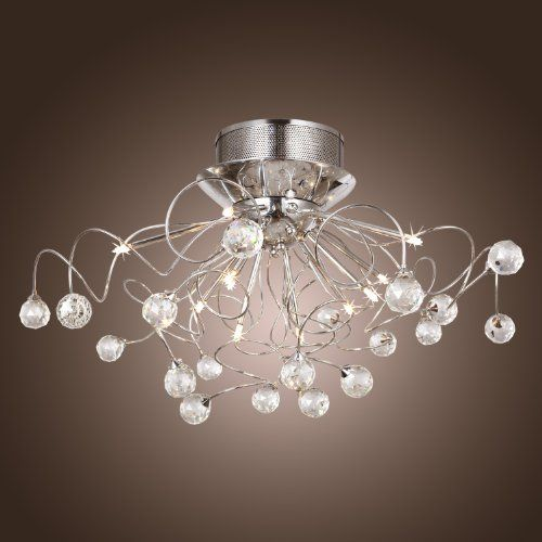 LightInTheBox Modern Crystal chandelier with 11 Lights Chrom, Flush Mount Chandeliers Modern Ceiling Light Fixture for Hallway, Entry, Bedroom, Living Room with Bulb Included