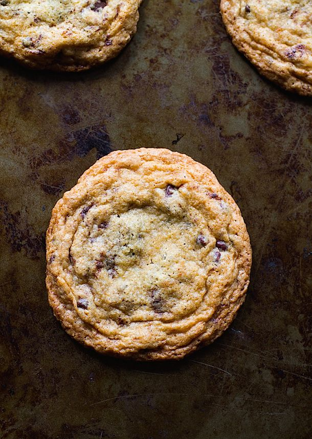 Soft and chewy in the middle, crisp and buttery on the edges. Best gluten-free chocolate chip cookies ever.
