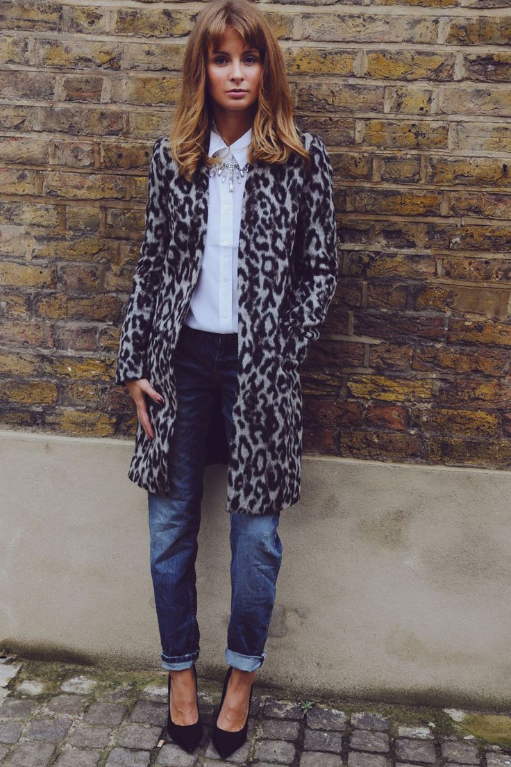 Millie Mackintosh Teams A French Connection Leopard Coat With A White Shirt, 2013