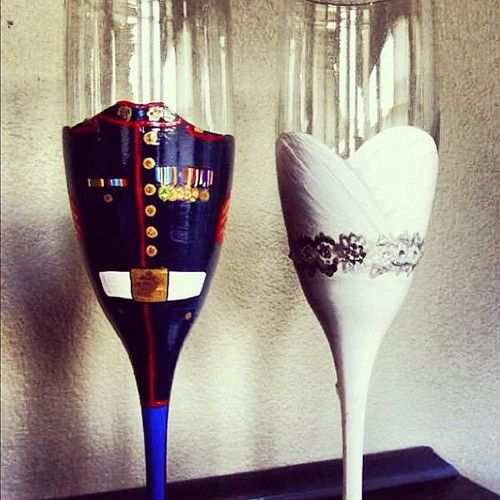 I love this idea! military, cowboy, football, whatever! awesome bride/groom glasses for reception!