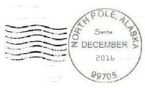 2016 North Pole Postmark and Cancellation