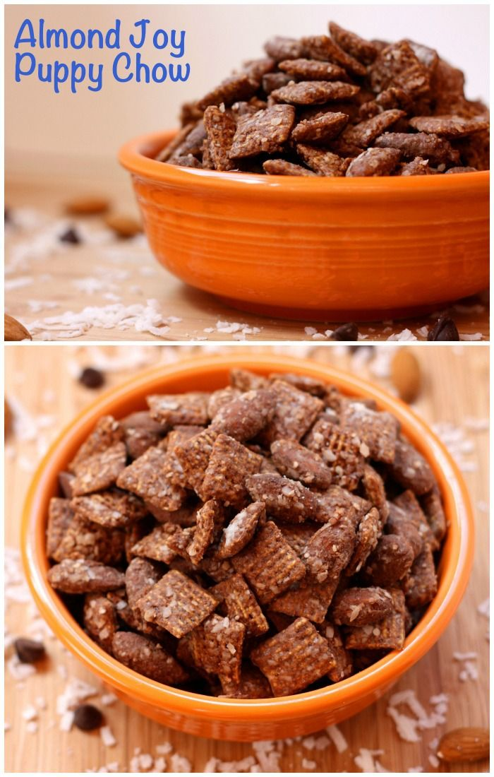 Almond Joy Puppy Chow - chocolate, coconut and almond flavors come together in a new version of classic muddy buddies snack mix! | cupcakesandkalechips.com | gluten free, vegan recipe