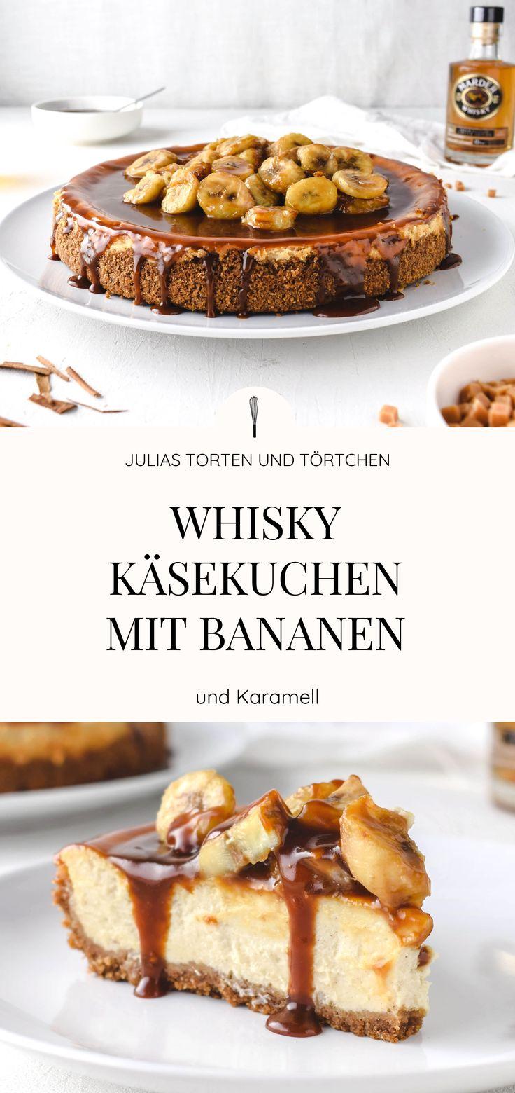 Cremiger Whisky Käsekuchen mit Bananen und Karamell
