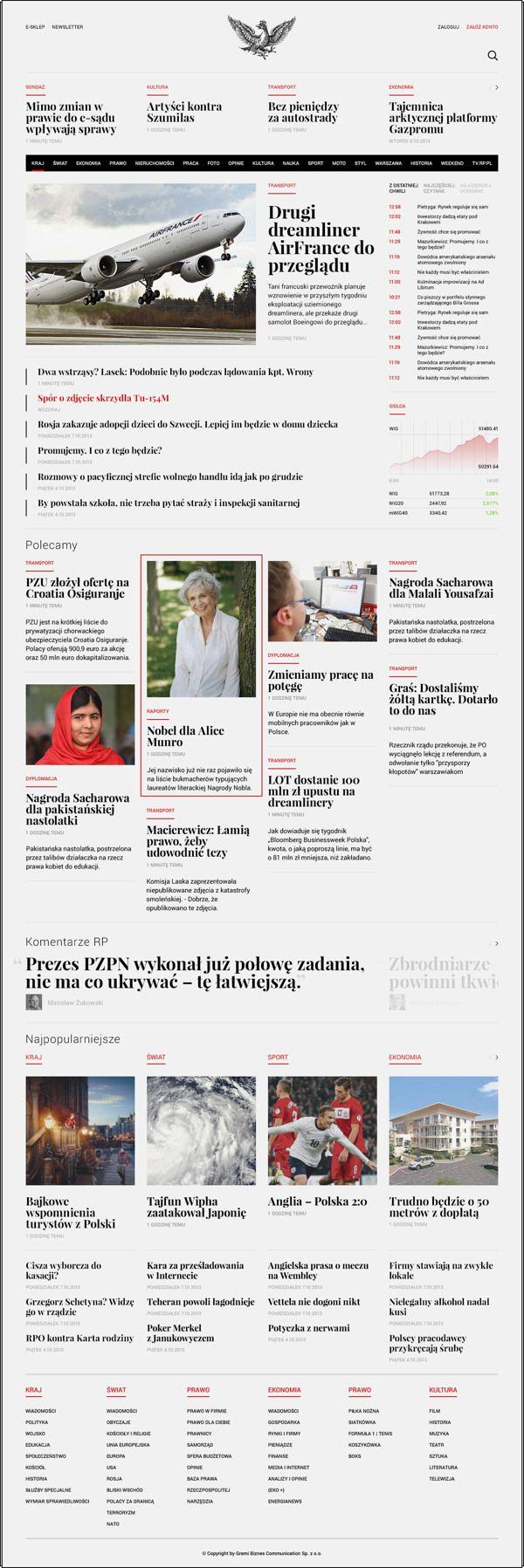 Отличный пример новостного сайта и хороших шрифтов Rp.pl — Redesign Concept / Maciej Mach