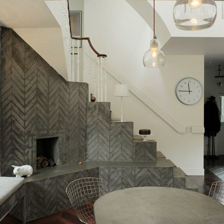 Hearth House by AOC: Concrete Patios, Hearth House, Interiors, Fireplaces, Herringbone Pattern, Under Stairs, Upstairs Downstairs, Bedrooms Wall, Bricks Colors