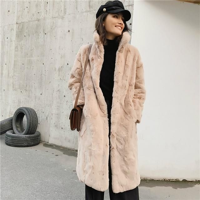 OFTBUY 2019 Real Fur Coat Winter Jacket Women Natural Rex Rabbit Fur Long Overcoat Stand Collar Streetwear Thick Warm Outerwear – coffee M