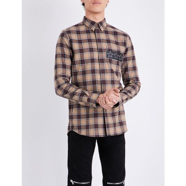 Givenchy Checked contemporary-fit cotton shirt ($480) ❤ liked on Polyvore featuring men's fashion, men's clothing, men's shirts, givenchy mens shirt, mens american flag shirt, mens striped shirt, mens victorian shirt and mens cowboy shirts