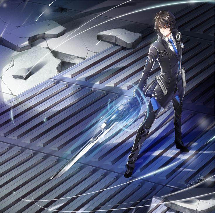 closers seha lee pping 1boy artist name black hair blue necktie blue neckwear…