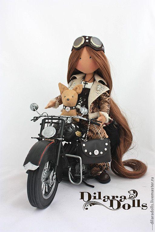 Коллекционные куклы ручной работы. Ярмарка Мастеров - ручная работа текстильная кукла Biker girl`. Handmade.