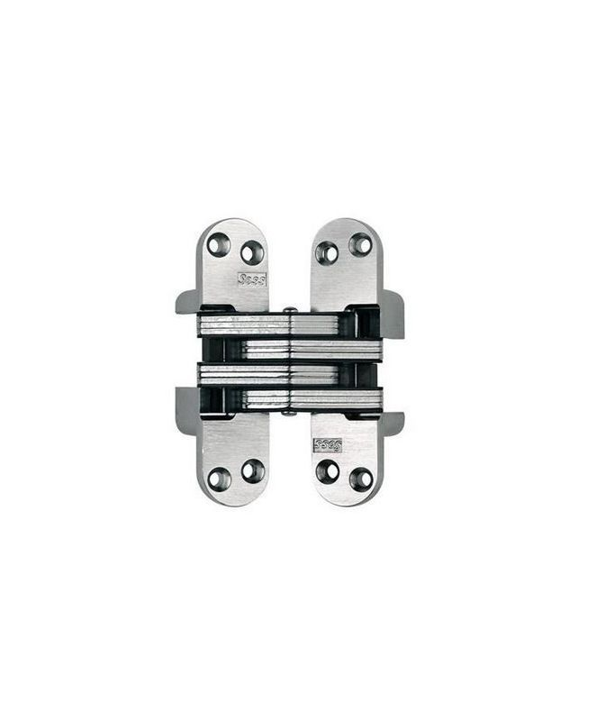Soss 218FR 4-5/8 Inch High Fire Rated Invisible Hinge for Heavy Duty Application Satin Nickel Cabinet Hinges Inset Hinges Invisible Hinges