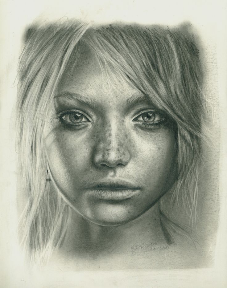 Portrait Studies . Gemma Ward . Pencil on paper