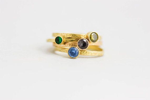 Birthstone Ring, Sterling Silver, Stacking Ring, Stone Ring, Gemstone Ring, Gift for Women, Simple Elegant ring, Textured Ring, SR0202