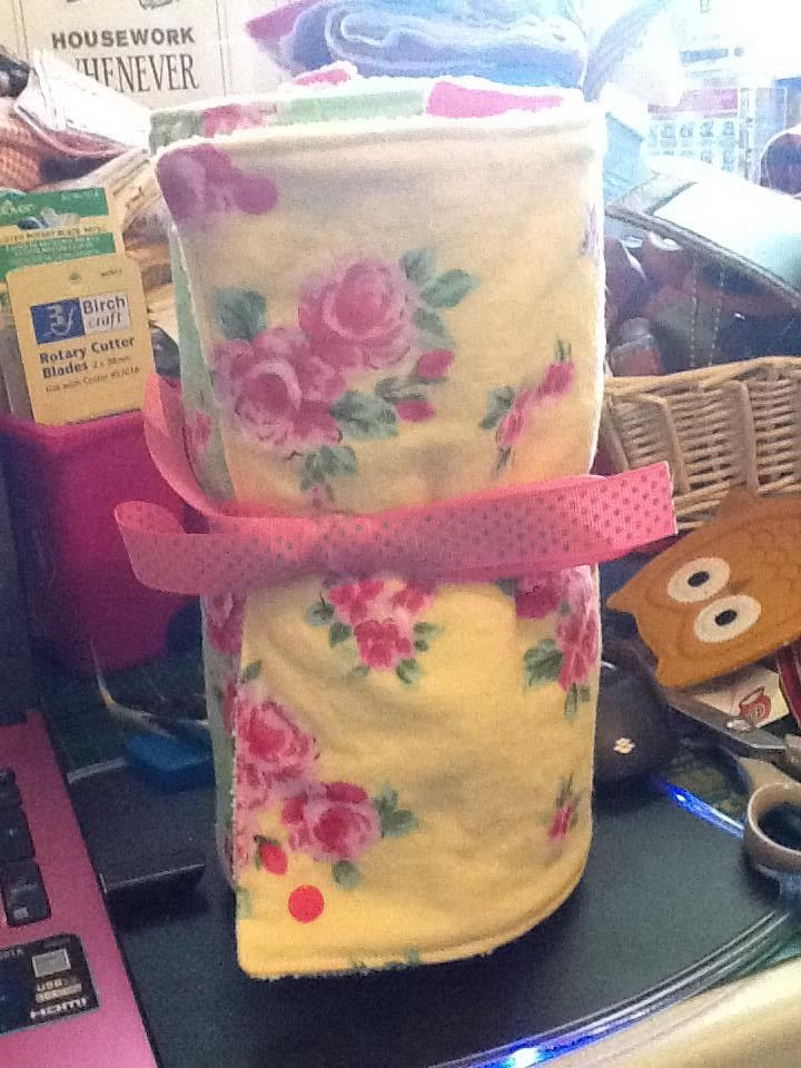 UnPaper Towels, Microfibre/flannelette towels joined together with Snaps.  Pull off, use wash and return.