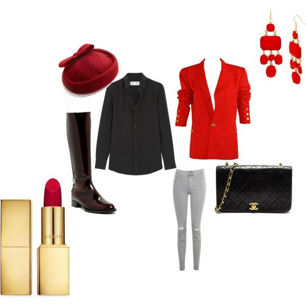 red and black outfit by carlifornia101 on Polyvore featuring polyvore fashion style Yves Saint Laurent Chanel J Brand Aquatalia by Marvin K. AERIN