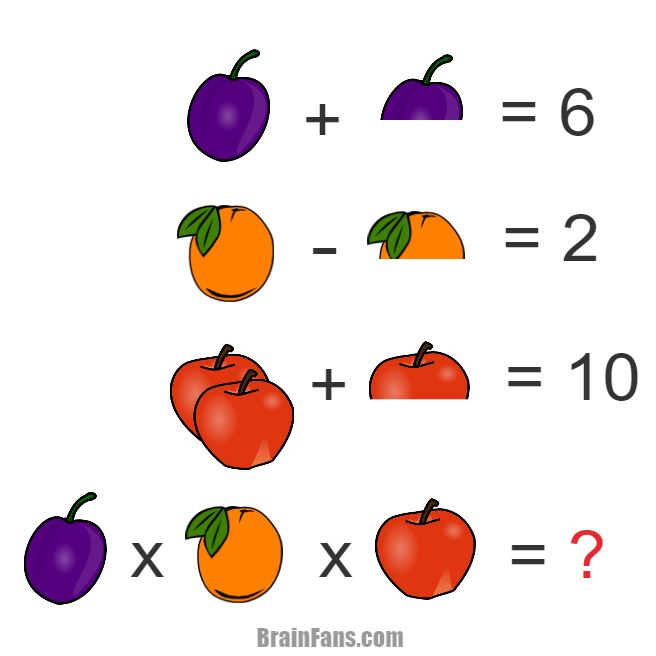 Brain teaser - Number And Math Puzzle - Hard puzzle for genius - Look at the fruit symbols. Some fruit is doubled, while other is cut in its half. Can you solve this tricky math riddle? Then you are a genius;) Share if you like.
