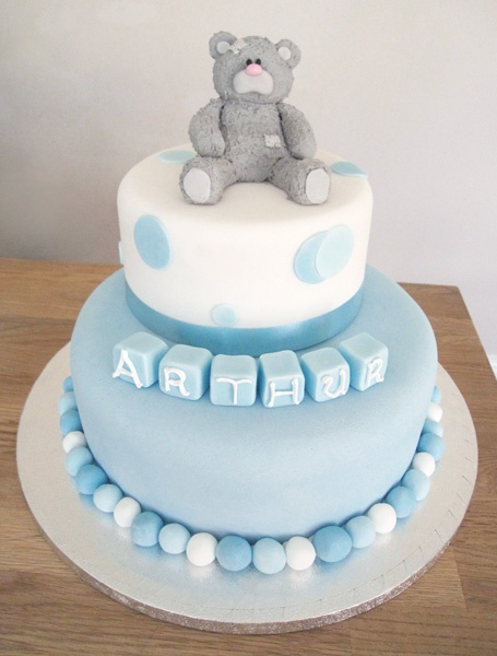 Boy's Christening Cake with 'Me To You' Bear -  by The Cakery Leamington | www.thecakeryleamington.co.uk
