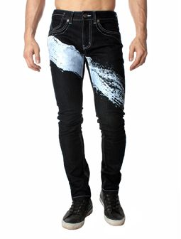 Calligraphy Brush Stroke Design Flap Pocket Skinny Fit Jean