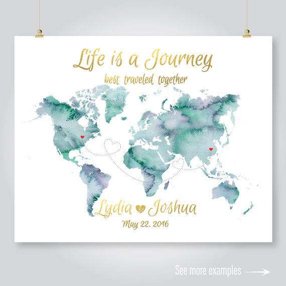 personalized map wedding guest book watercolor world map anniversary save the date engagement gift PRINTABLE DIGITAL art print jpeg pdf