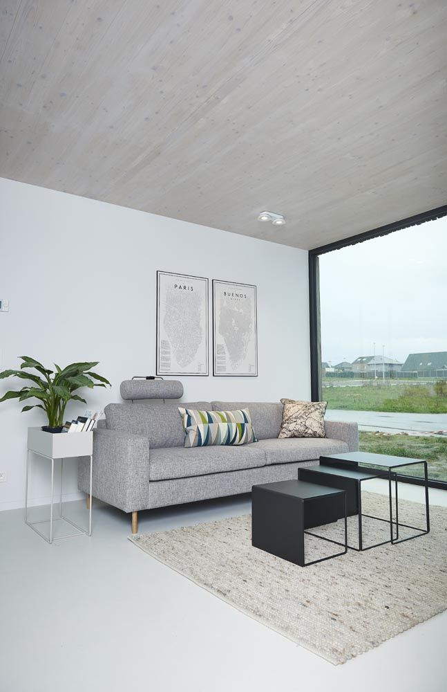 Scandinavia sofa Bolia, plant box, cluster tables and cushions Ferm Living, rug Zuiver