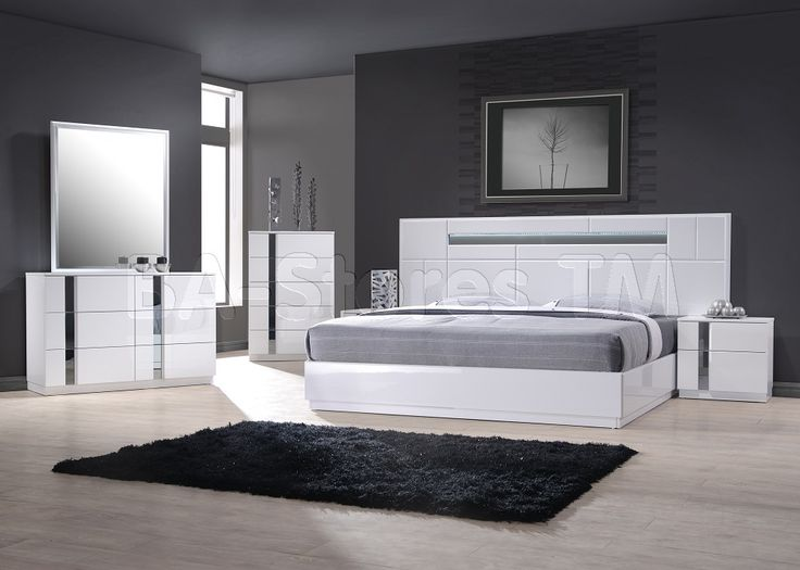 Palermo White Lacquer Modern 5pc Bedroom Set By J M