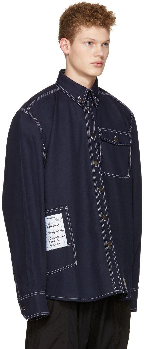 Vetements - Navy Carhartt Edition Workwear Shirt