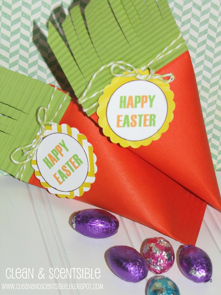 Quick and easy Easter Carrot Treat Boxes.  www.cleanandscentsible.com #Easter #school treats